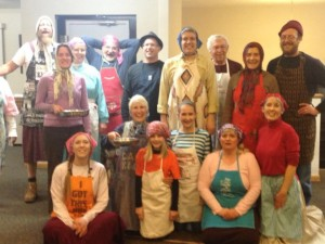 Pancake Day racers at Mary Ann's church--male, female, all ages--ready for the big event.