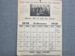 Calendar made by Sugar Creek and Bethel Mennonite Youth Fellowships in 1958.
