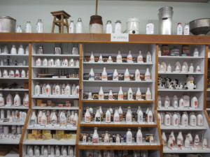 Larry Roth's milk bottle collection display.