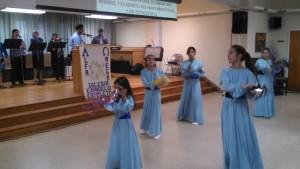 Alpha y Omega girls' liturgical dance troupe.
