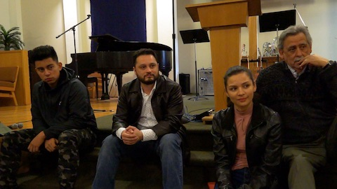 Members of the Primera Iglesia band (left to right) David Aldana, Luis Hoajaca, Ariel Hoajaca, and Patricio Fernandez describe what music in worship means to them (Vancouver, BC)